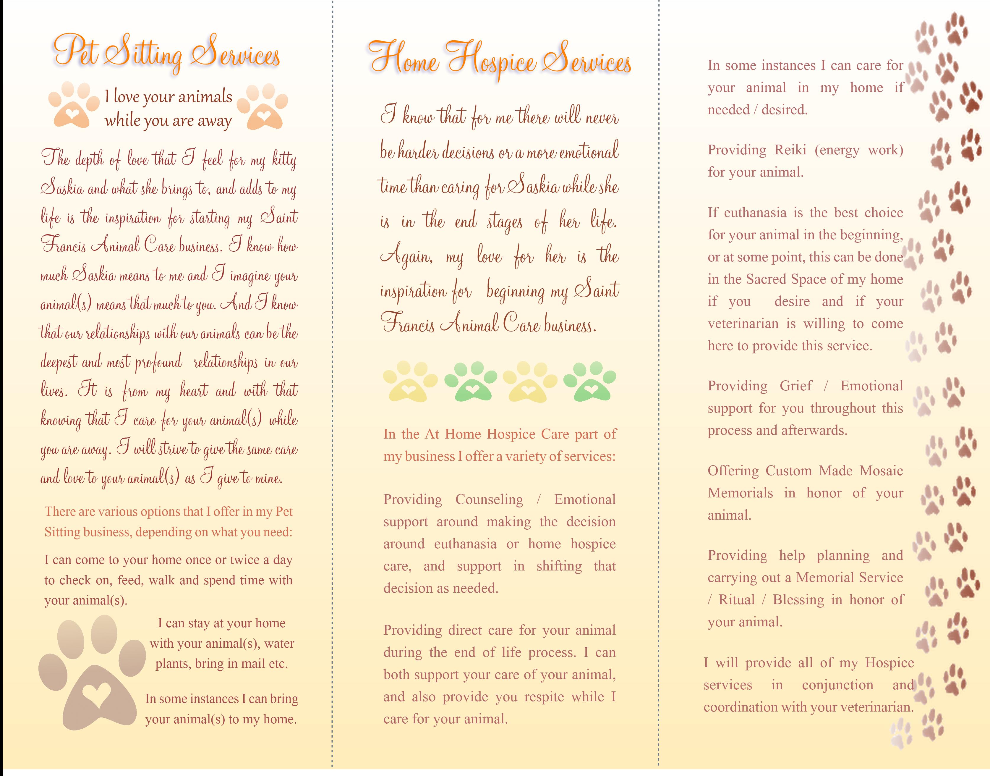 Inside SF Pet Care Brochure