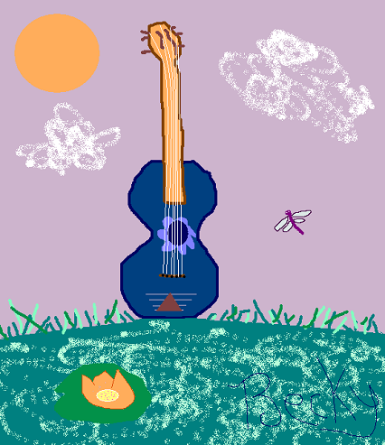 Guitar Pond (Freehand Computer Art)