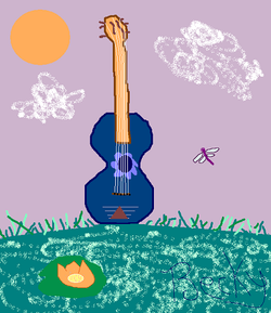 Guitar Pond (Freehand Computer Art)
