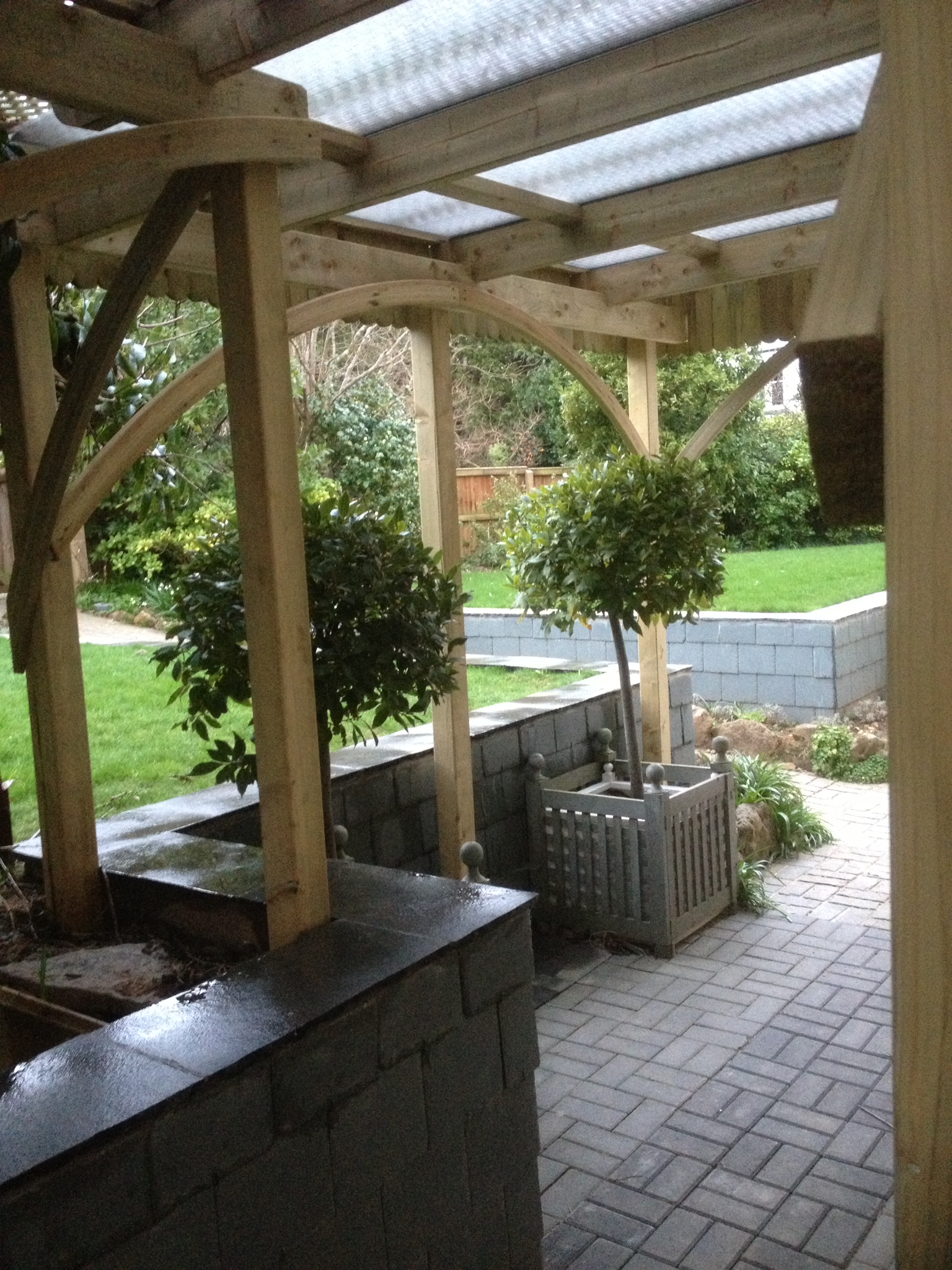 The rest of the completed patio