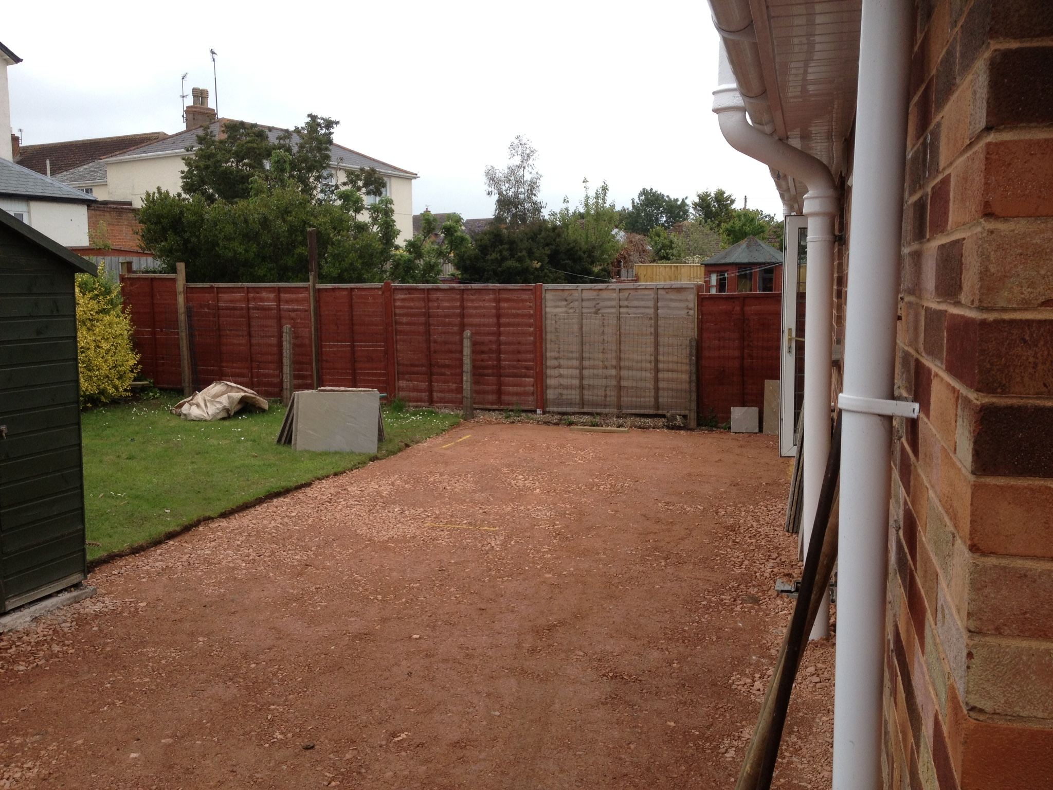 Patio prepped ready for paving