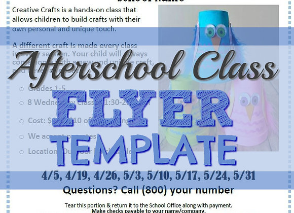 FREE Afterschool Class Flyer Template Downloadable