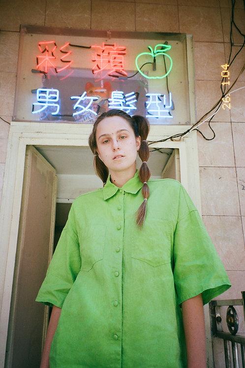 Lime Linen Oversized Shirt