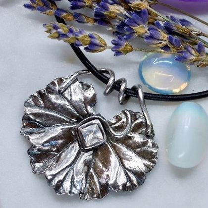 Silver pendant: Geranium leaf with cubic zirconium