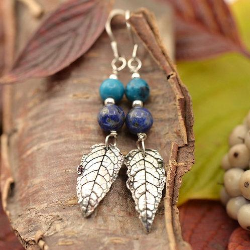 Lapis Lazuli, Azurite and fine silver leaf earrings