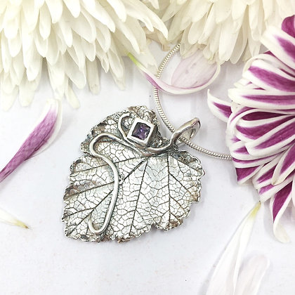 Loganberry leaf with lab-created amethyst