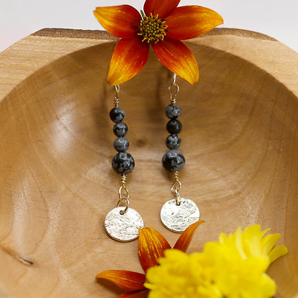 Snowflake Obsidian earrings with handmade fine silver discs