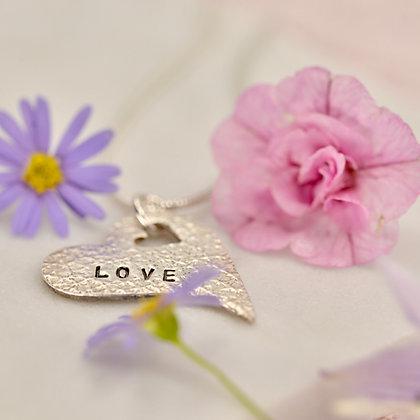 "Fine silver ""Love"" heart"