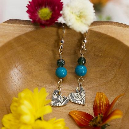 Azurite and moss agate earrings
