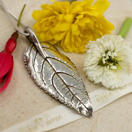 Silver pendant: Cape fuchsia leaf in fine silver