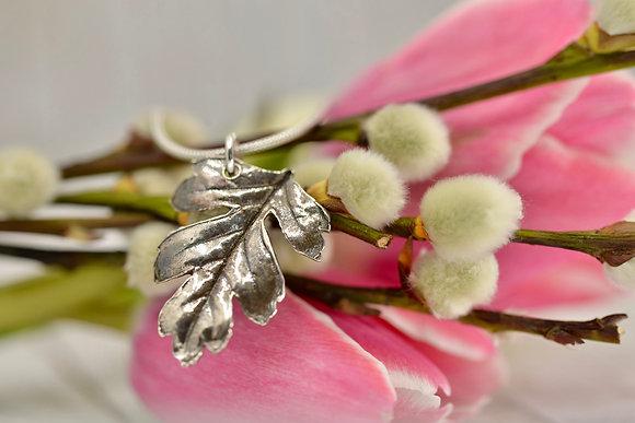 Fine silver hawthorn leaf