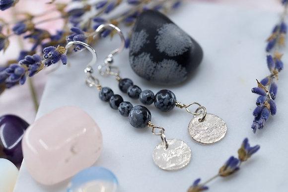 Snowflake Obsidian earrings with handmade fine silver discs