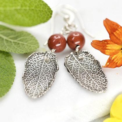 Fine silver sage leaves with red jasper earrings