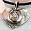 Thumbnail: Silver pendant: Fine silver textured heart with pink/green dichroic glass
