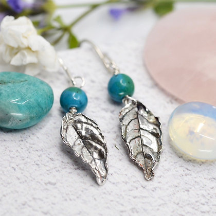 Fine silver earrings: real leaves with azurite beads and sterling silver wires
