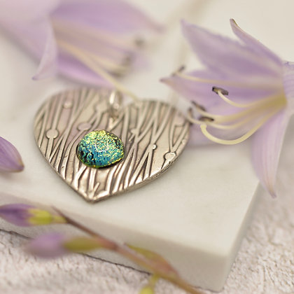 Beautiful Fine silver heart with dichroic glass