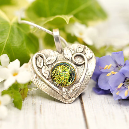 Silver pendant: Heart and vine fine silver with dichroic glass