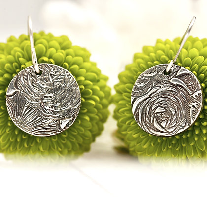 """Sterling silver """"Country garden - rose"""" circle earrings"""