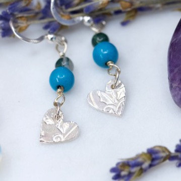 Azurite and moss agate silver earrings