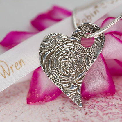 """Sterling Silver """"Country Garden"""" heart"""