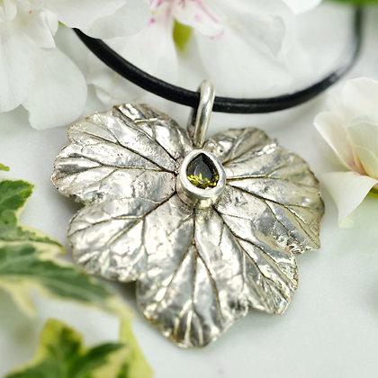 Silver pendant: Large fine silver Geranium leaf with lab-created peridot