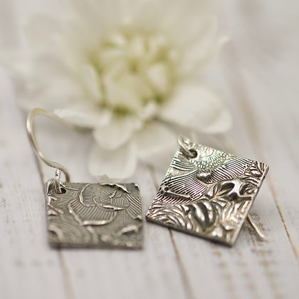"Sterling silver "" Country Garden - abstract"" square earrings"