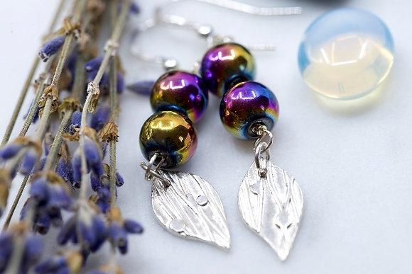 Rainbow  haematite with fine silver earrings