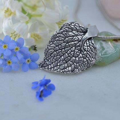 Brunnera leaf in fine silver
