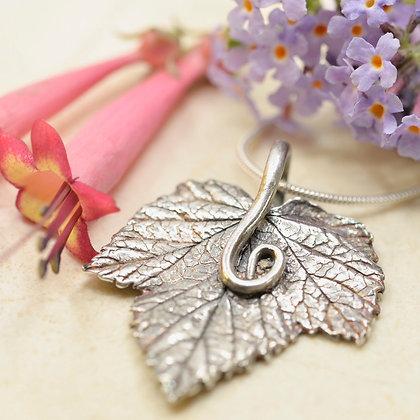 Silver pendant: Blackcurrant leaf with vine bail