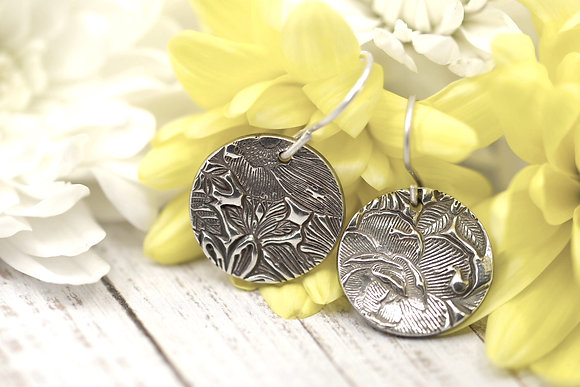 """Sterling silver """"Country Garden - flowers & foliage"""" circle earrings"""