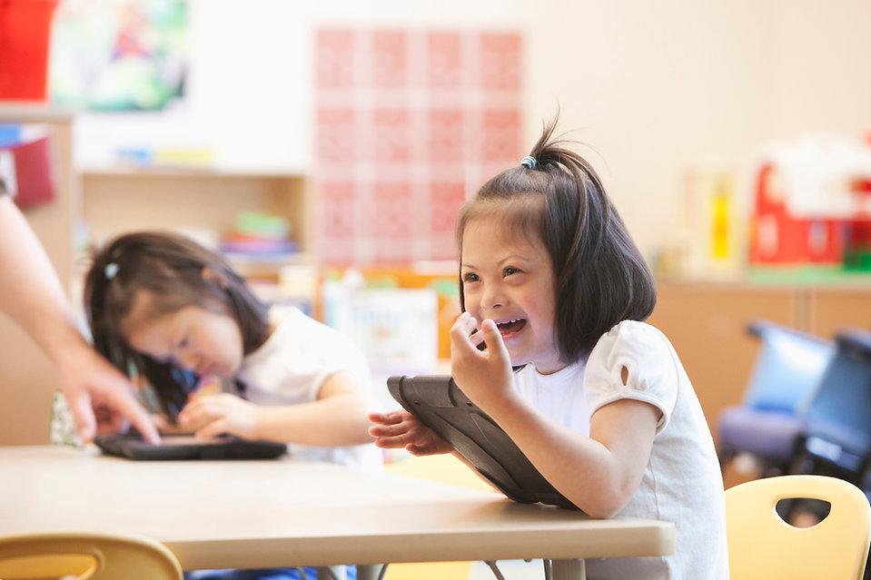 Smiling girl at school