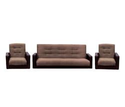 77-0113кр Комплект Лондон рогожка микс коричневая (диван+2 кресла)2