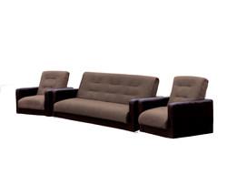 77-0113кр Комплект Лондон рогожка микс коричневая (диван+2 кресла)1