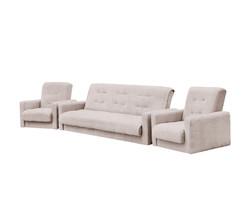 77-0109кр Комплект Лондон-2 рогожка  бежевая (диван+2 кресла)2