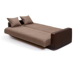 77-0113 Диван Лондон рогожка микс коричневая с подушками 4