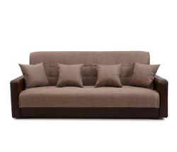 77-0113 Диван Лондон рогожка микс коричневая с подушками 1