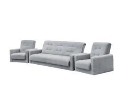 77-0111кр Комплект Лондон-2 рогожка  серая (диван+2 кресла)2