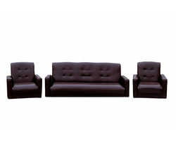 77-00021кэ Комплект Аккорд экокожа коричневая (диван+2кресла)1
