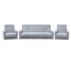 77-0111кр Комплект Лондон-2 рогожка  серая (диван+2 кресла)1