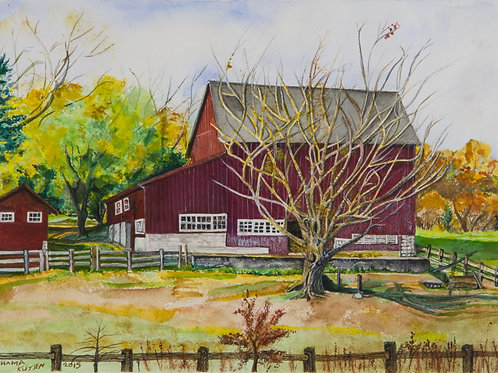 Red Barn with a Tree