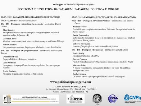 3a Oficina de Política da Paisagem: Paisagem, Política e Cidade
