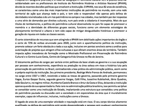 CARTA EM DEFESA DO PATRIMÔNIO CULTURAL BRASILEIRO E DO IPHAN
