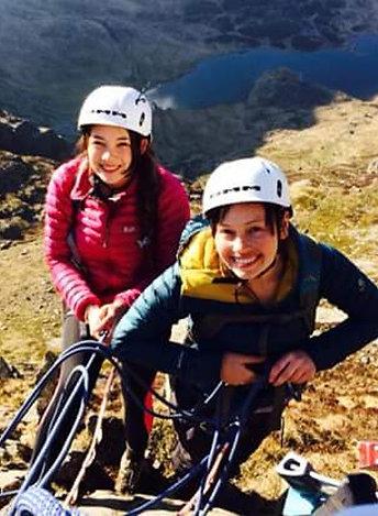 Two People Rock Climbing Scrambling - Cneifion Arete Cwm Idwal Snowdonia