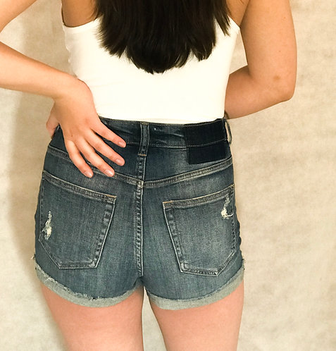 Vintage Wash High Rise Denim Shorts