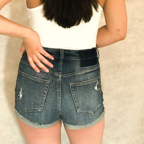 Vintage Wash High Rise Denim Shorts