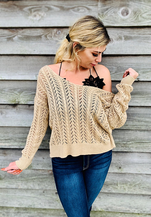 Tan Off Shoulder Top With Knot Detail