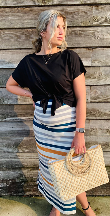 Maternity Bamboo Tie Top and Striped Skirt 2 PC