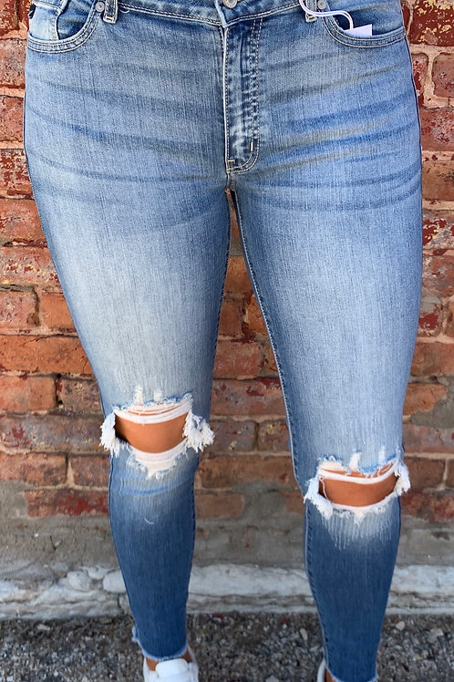 Women's Distressed Mid-Rise KanCan Jeans