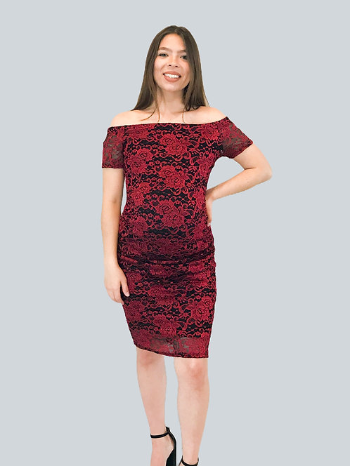 Maternity Red Lace Off The Shoulder Dress