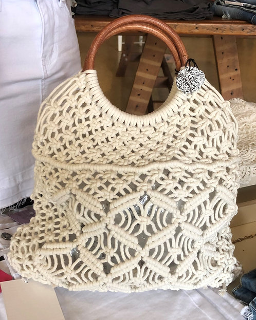 Macrame Purse With Wooden Handle